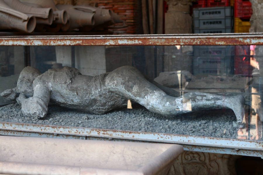 Encased Pompeii Body