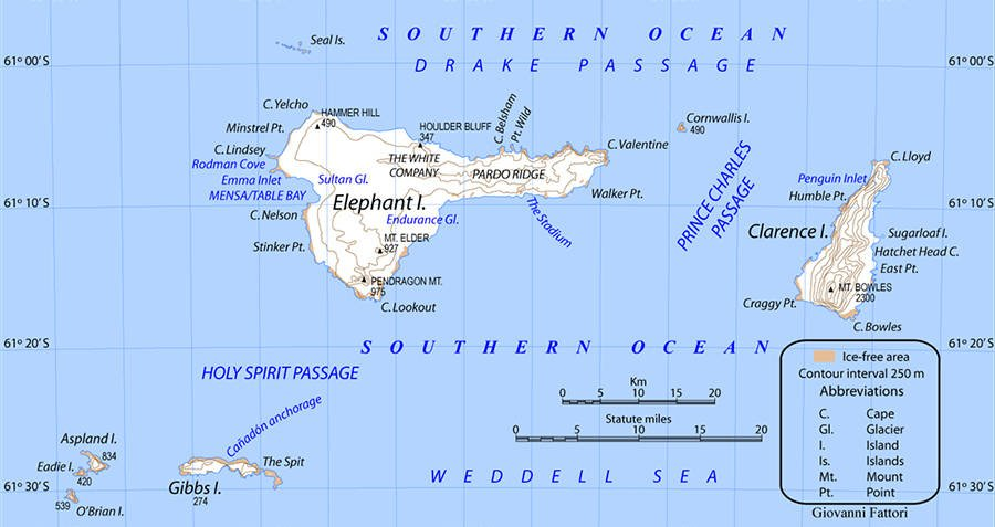 Map Of Elephant Island