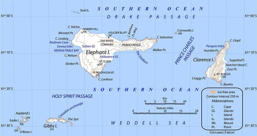 Map Of Elephant Island