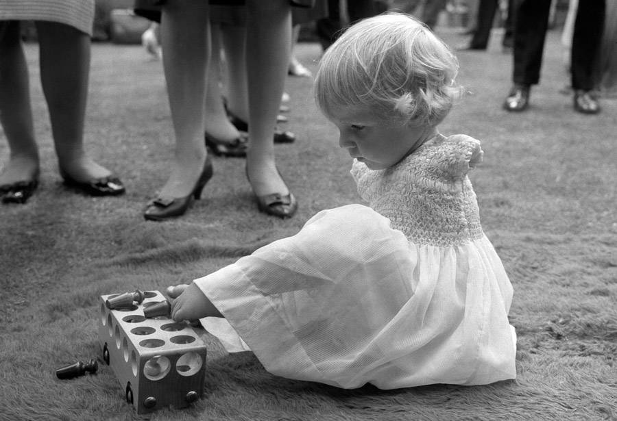 Thalidomide Baby Playing Blocks