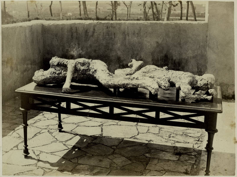 Vintage Image Of Pompeii Bodies