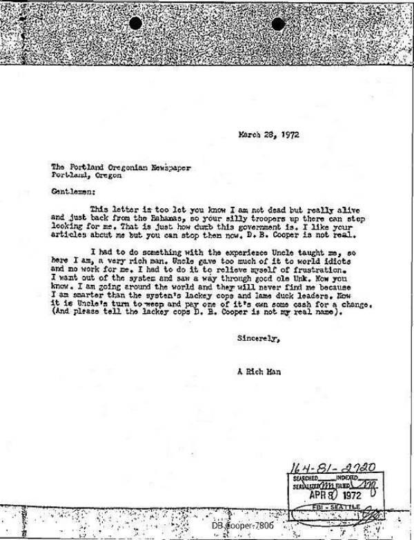 DB Cooper New Letter