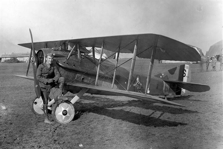 Flying Ace Eddie Rickenbacker With Airplane
