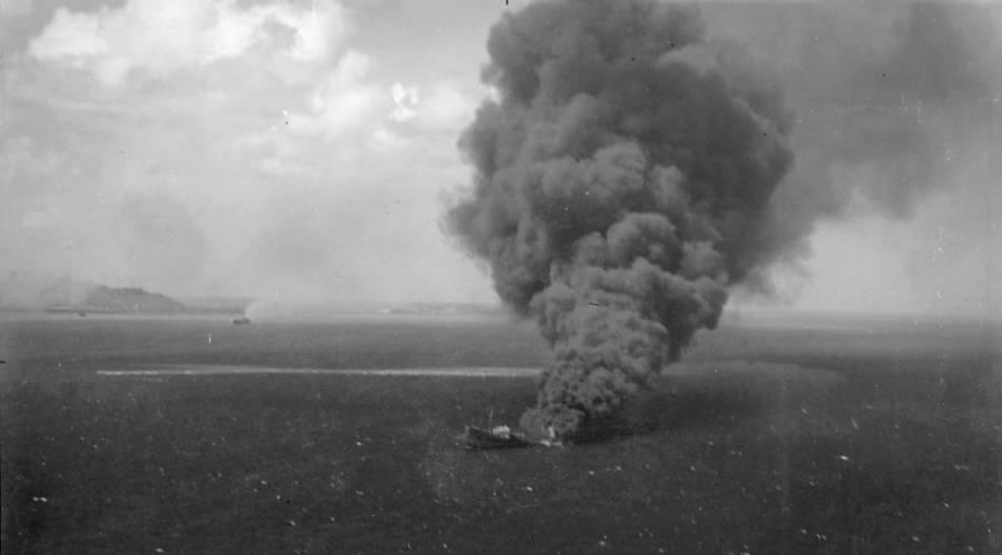 Japanese Ship Sinking At Truk Lagoon
