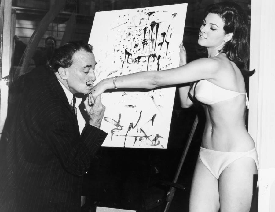 Salvador Dali With Raquel Welch
