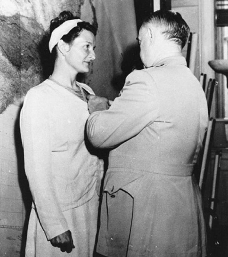 Virginia Hall Receiving Medal