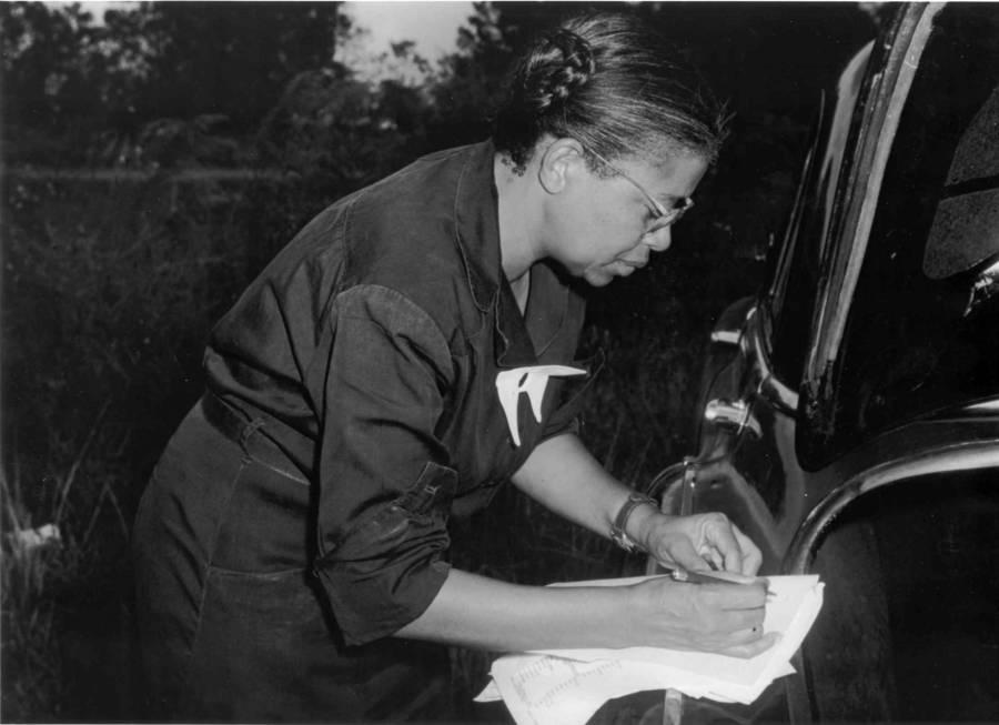 Eunice Rivers Doing Paperwork