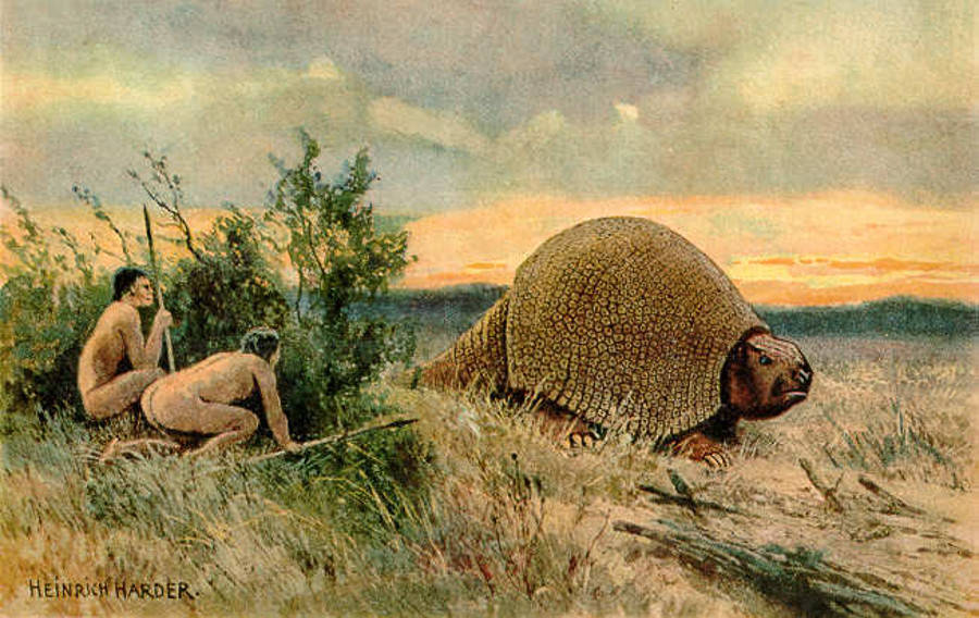 Humans Hunting A Glyptodon