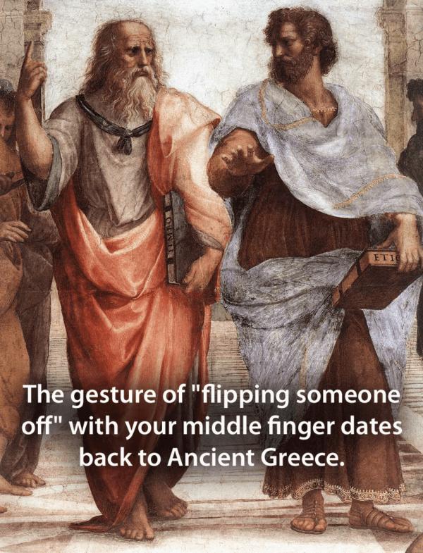 Plato Flipping Off