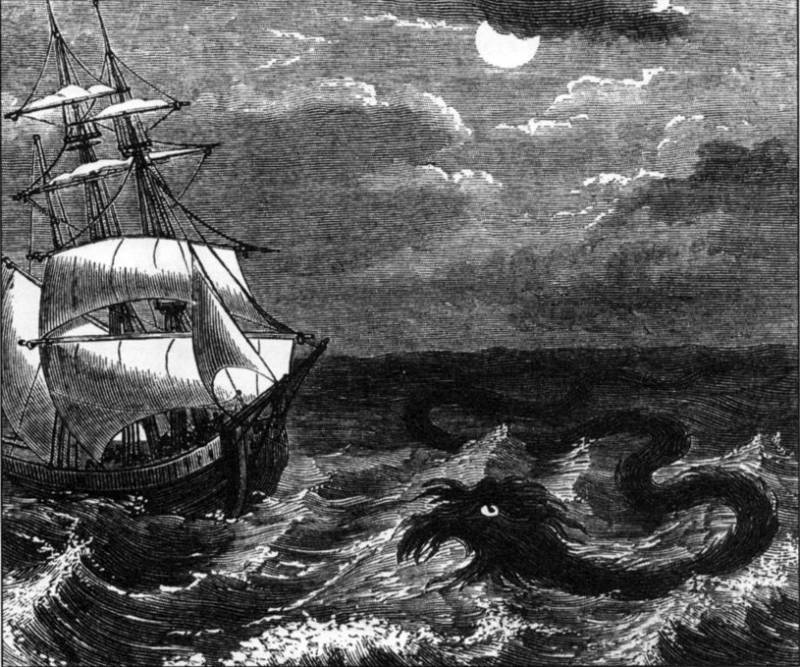 Ship With Sea Serpent