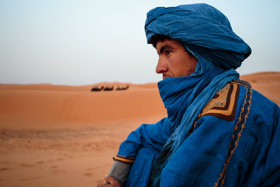 Berber Man In Blue Robe