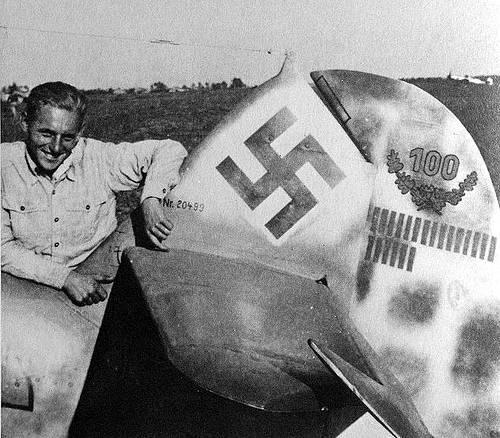 Erich Hartmann With Plane