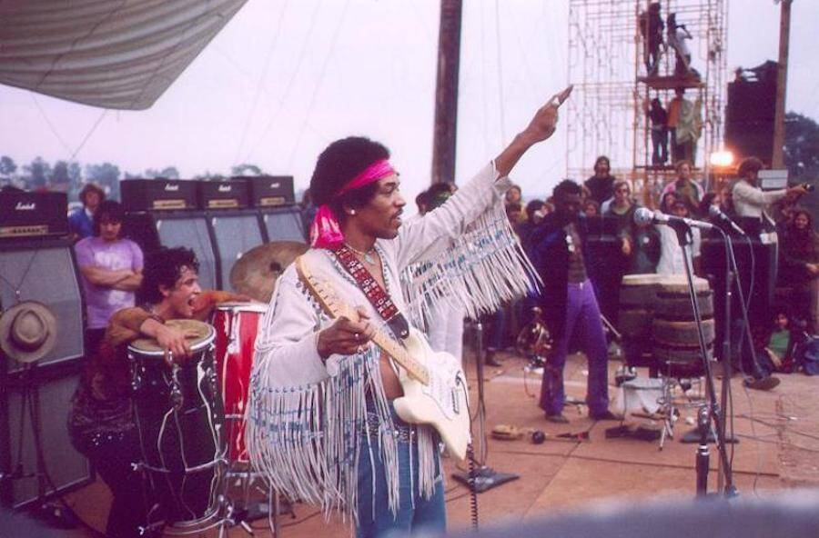 Jimi Hendrix On Stage At Woodstock