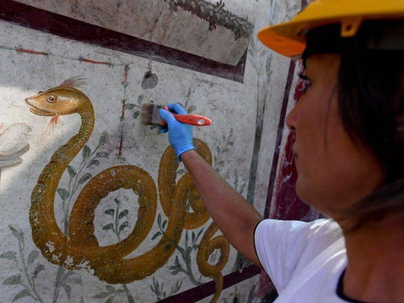 Snake Painting In Pompeii