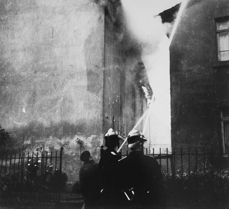 Synagogue Fire After Kristallnacht
