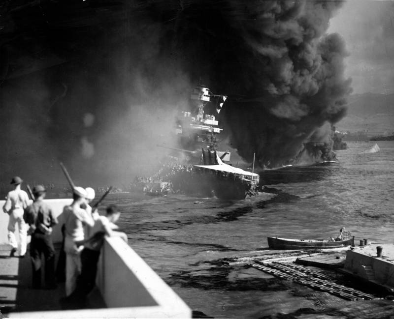 Smoke Coming From Sinking Battleship