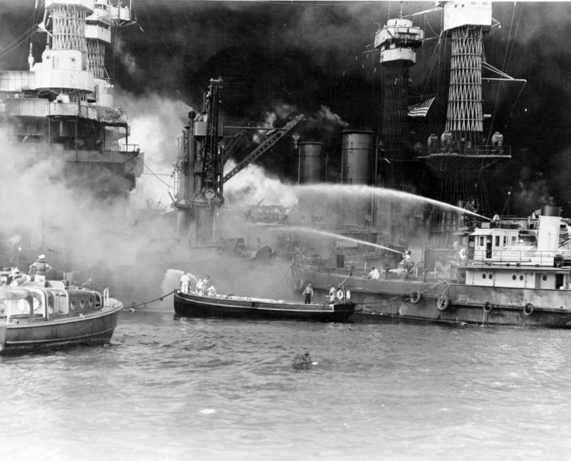 Uss West Virginia In Flames