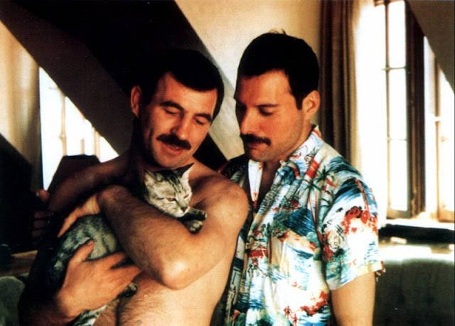 Freddie Mercury And Jim Hutton With Their Cat