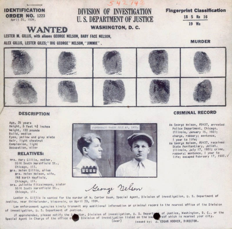 Baby Face Nelson Identification Order