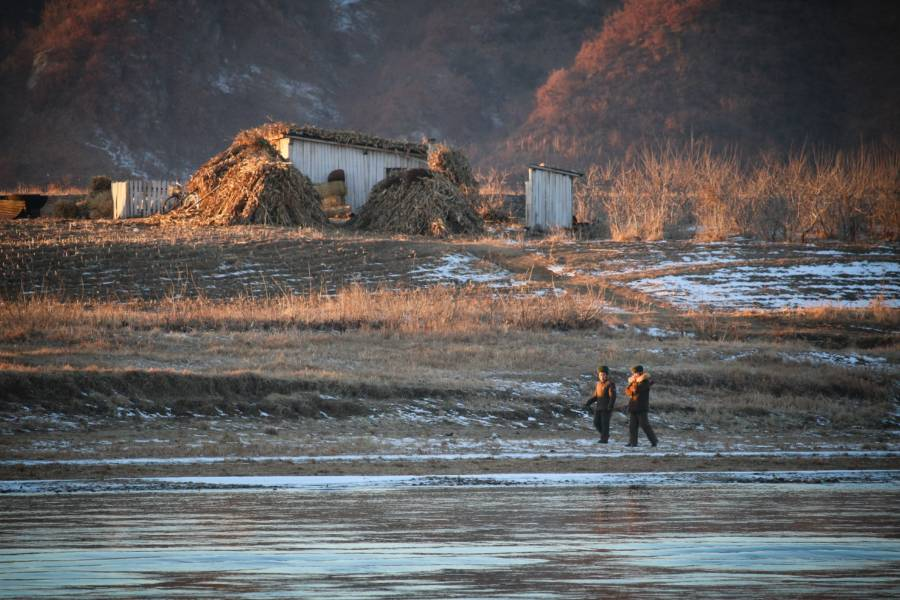 North Korean Soldiers In Marshland