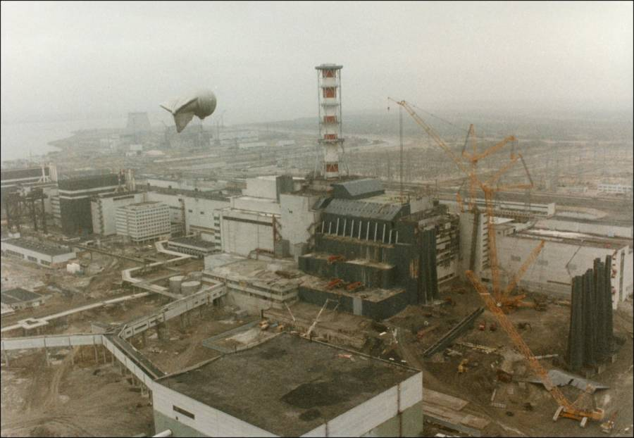 Aerial View Of Reactor 4 In 1986