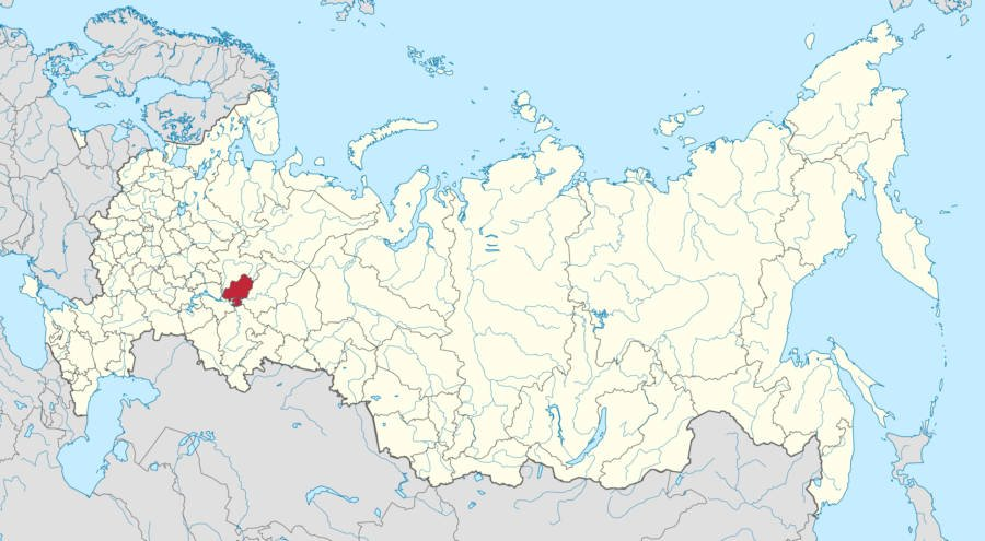 Russian Map With Udmurtia Highlighted