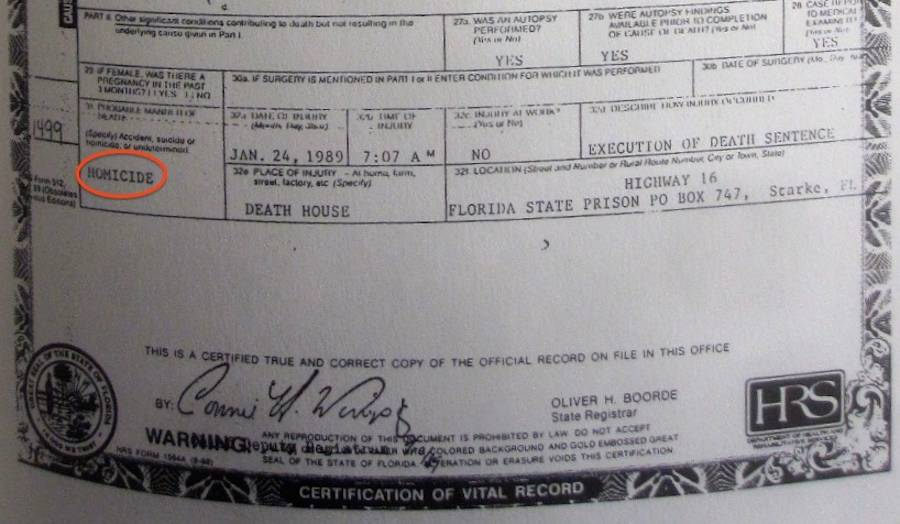 Ted Bundys Death Certificate