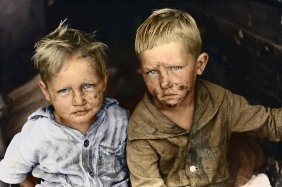 Young Children With Dirty Faces