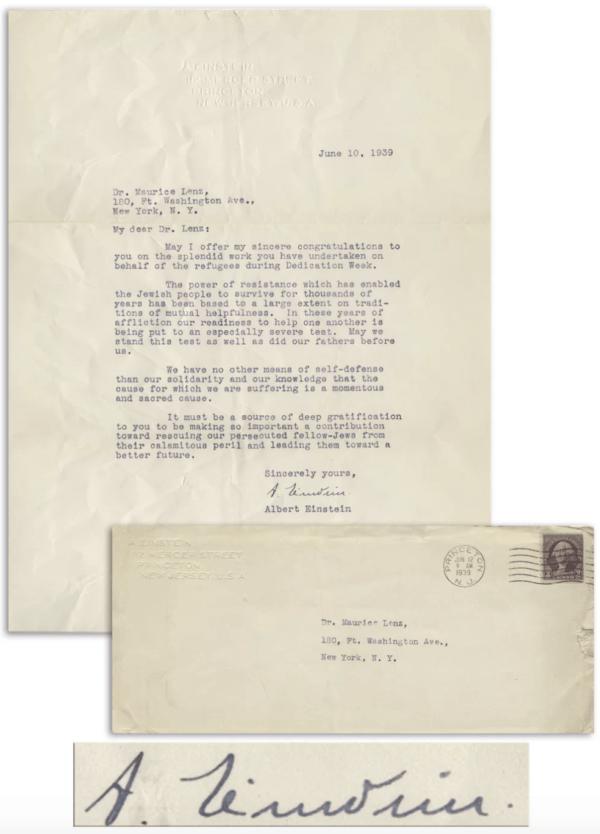 Albert Einstein Letter About Jewish Resistance