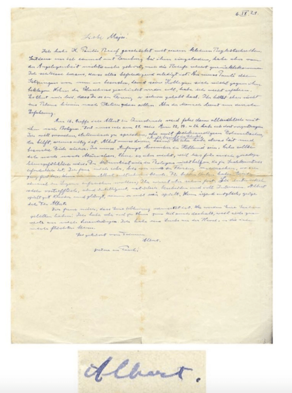 Albert Einstein Letter About Munich Trip