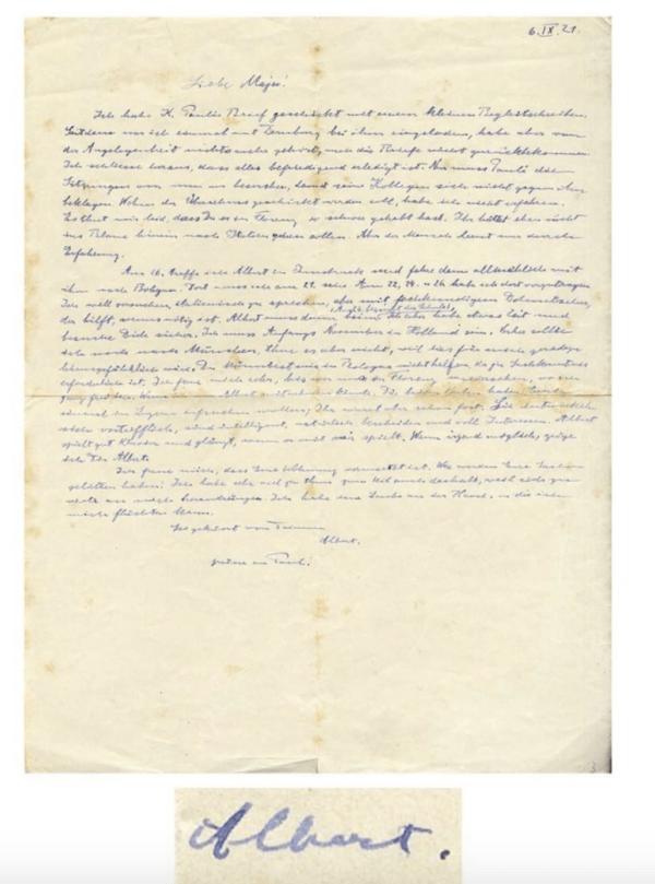 Albert Einstein Letter About Munich Trip
