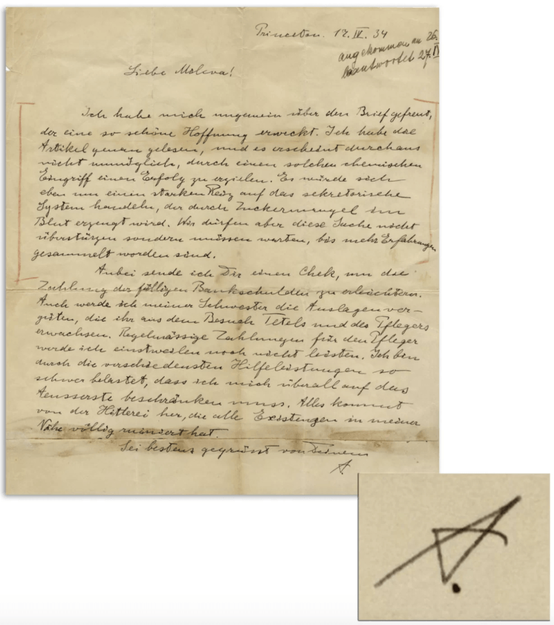 Albert Einstein Letter About Schizophrenia