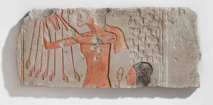 Ancient Egyptian Flat Relief Nose Damaged