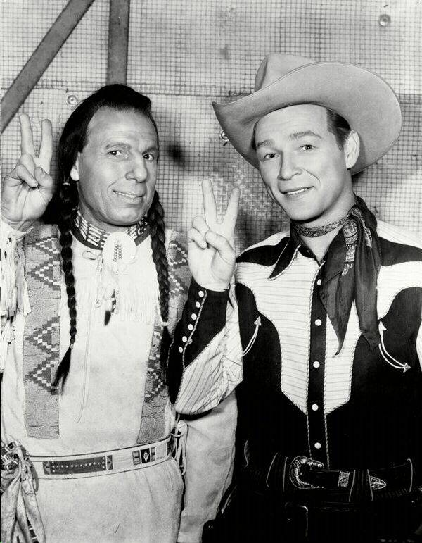 Iron Eyes Poses With Roy Rogers