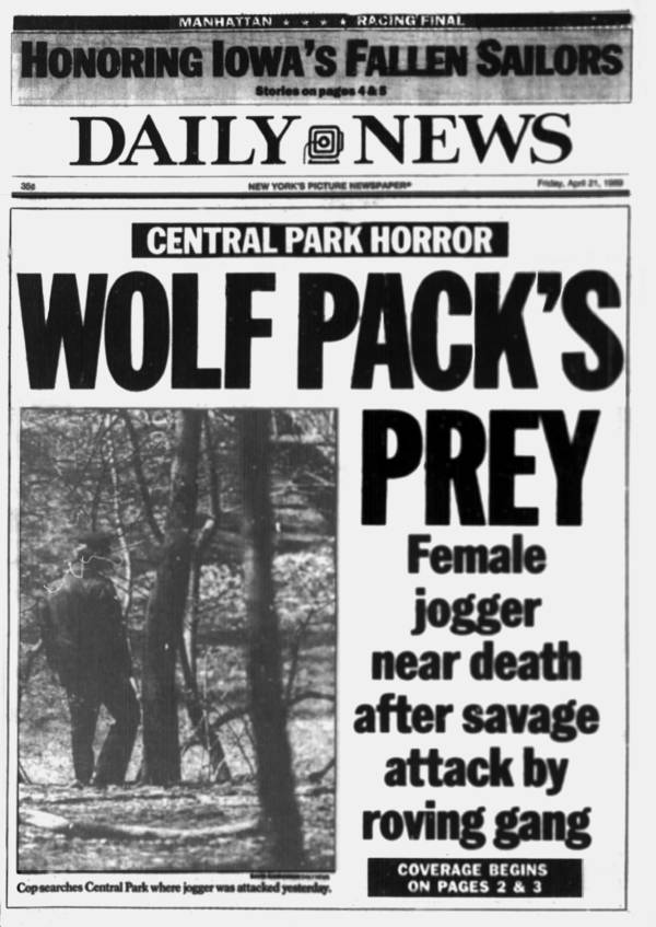 New York Daily News Central Park Five Front Page