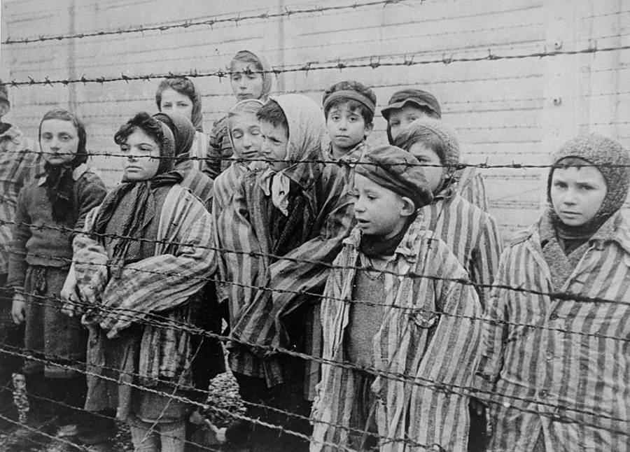 Jeiwsh Children At Auschwitz Concentration Camp