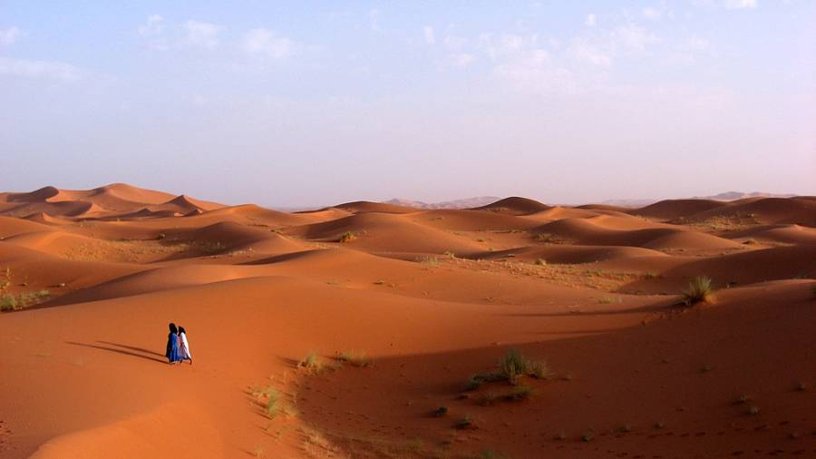 Berbers Walking In Sahara Desert