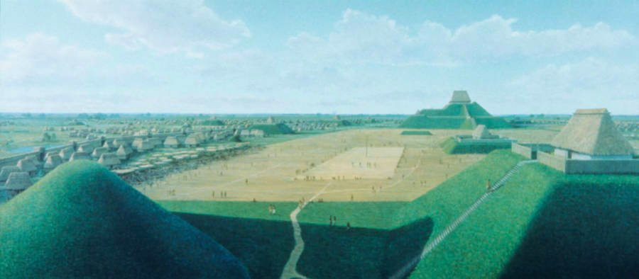 Cahokia City And Mounds Illustration