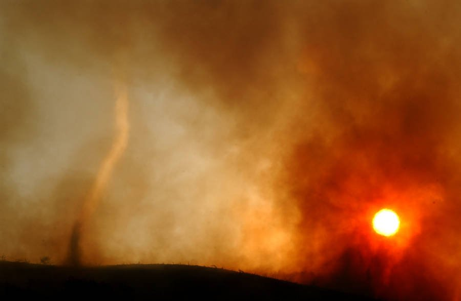 Sunset Behind Burning Fire Tornado