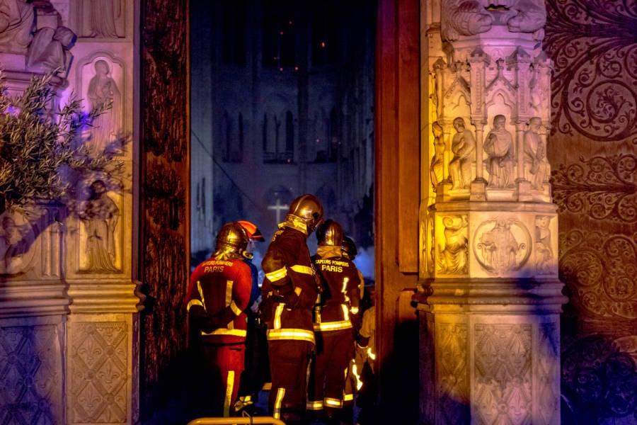 Firefighters Inside Notre Dame