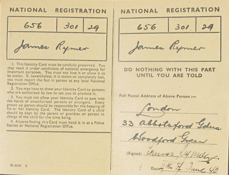 Josef Jakobs Forged Registration Card