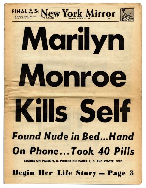 Newspaper Headline On Marilyn Monroe Death