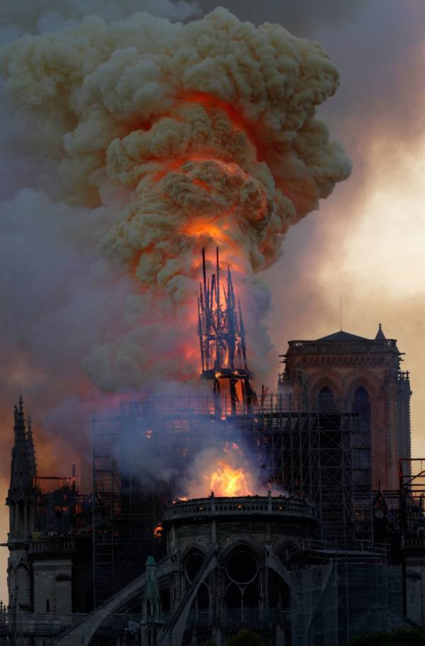 Steeple Engulfed Flames Cathedral