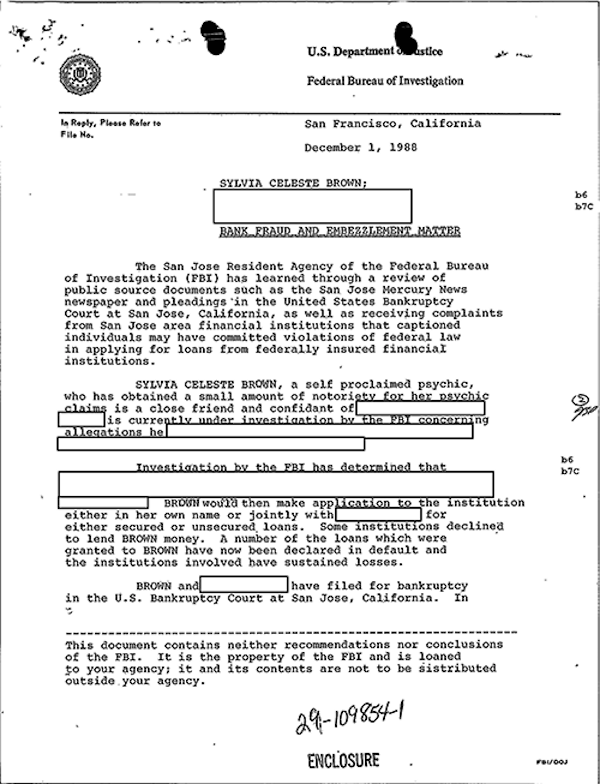 Sylvia Browne's FBI File