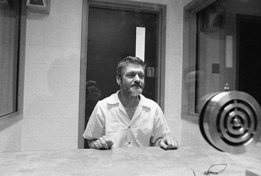 Kaczynski Behind Glass In Prison