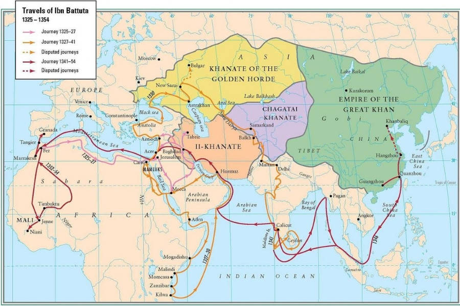 Map Of Ibn Battuta's Travels