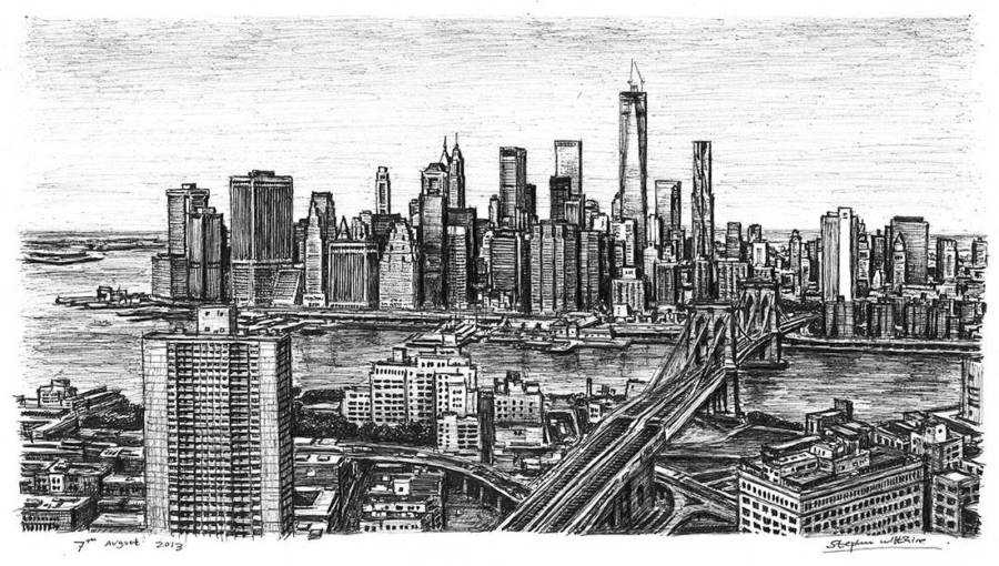 Drawing Of Brooklyn Bridge And The Freedom Tower