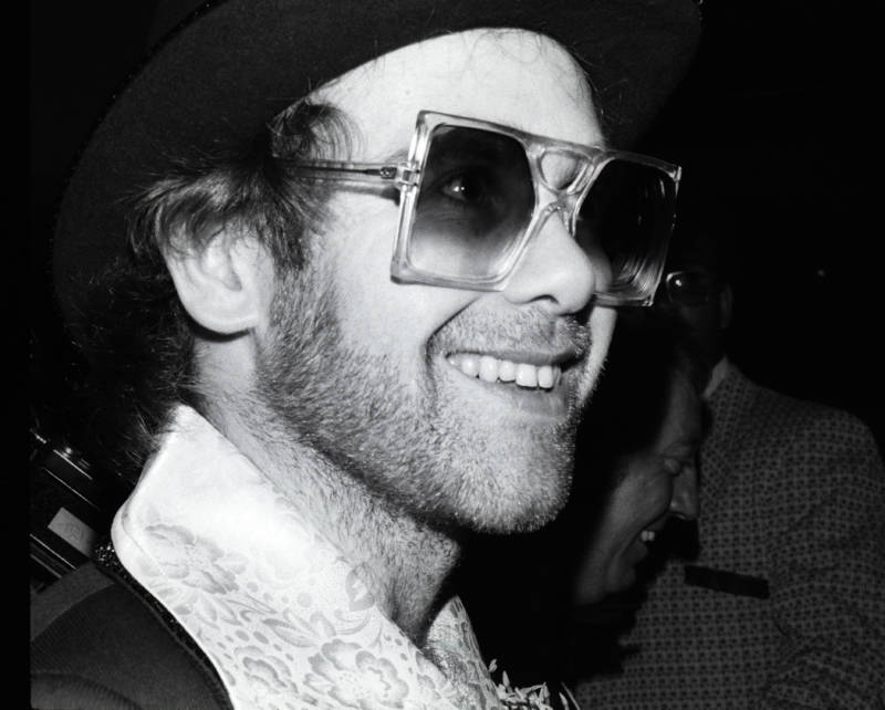 Elton John In Square Glasses Smiling