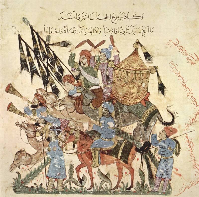 Painting Of Men Riding Camels In Group