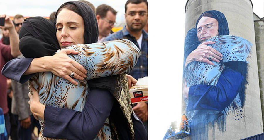 Mural Of Jacinda Ardern Hugging Muslim Woman